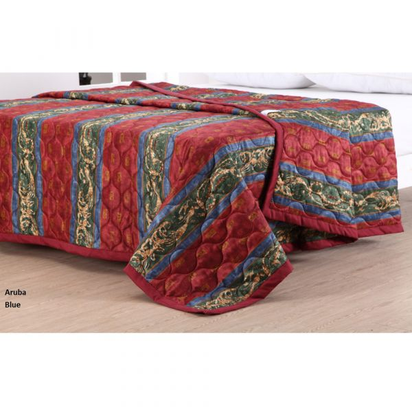 Reversible bedspread in Aruba Blue